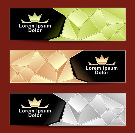 Set Royal Triangle banners gold silver light green colors with crown for advertising different something Vector