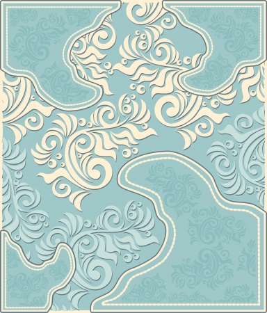 Decorative floral background in pastel blue colors in antique style  Vector