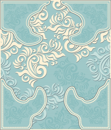 Decorative floral background in pastel blue colors in antique style  Vectores