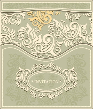 Invitation or Frame in Decorative floral background in pastel colors in antique style  Vector