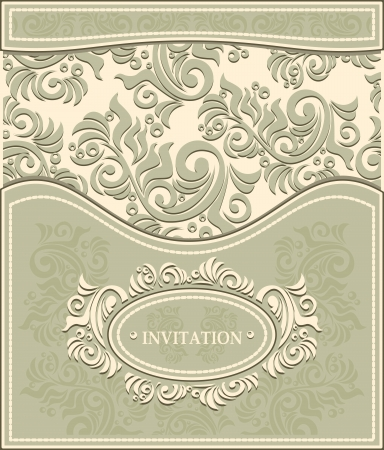 Invitation or Frame in Decorative floral background in pastel colors in antique style  Stock Vector - 23213103