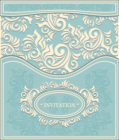 Invitation or Frame in Decorative floral background in pastel blue colors in antique style  Vector