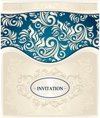 Elegant Invitation or Frame in Decorative floral background in in  dark blue and beige colors in antique style  Vector