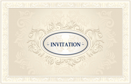 baroque pearl: Invitation or Wedding frame or Congratulation with Floral background in light color Illustration