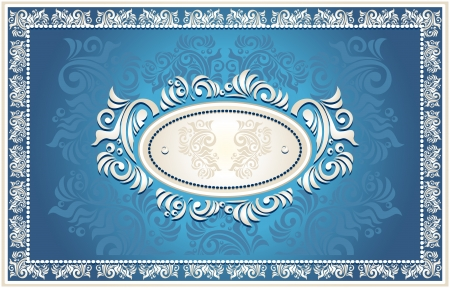 baroque pearl: Invitation or frame or Congratulation with Floral in blue  color