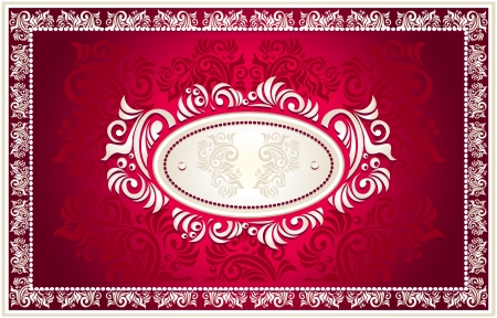 baroque pearl: Invitation or frame or Congratulation or label with Floral in red  color