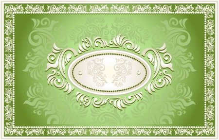 Invitation or frame or Congratulation or label with Floral in green  color