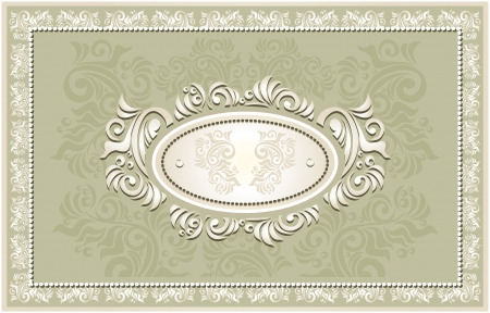 Invitation or frame or Congratulation or label with Floral in olive  color Vector