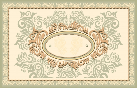 baroque pearl: Invitation or frame or label with Floral in beige