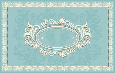 Invitation or frame or label with Floral in blue Vector