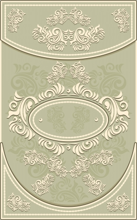 Vintage Frame or  label or menu with Floral background in olive  color Vector