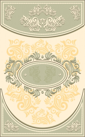 Vintage Frame or  label or menu with Floral background in olive beige color Vector
