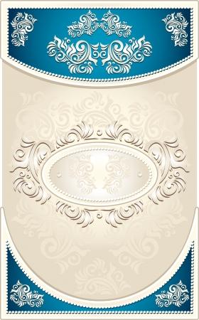 Vintage Frame or  label or menu with Floral background in blue beige  color