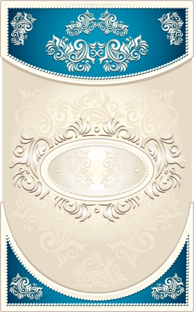 Vintage Frame or  label or menu with Floral background in blue beige  color