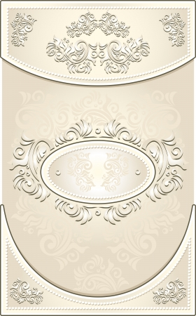 baroque pearl: Vintage Invitation or Wedding frame or Congratulation or label with Floral background in light color