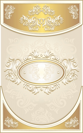 baroque pearl: Vintage Invitation or Wedding frame or Congratulation or label with Floral background in light gold color