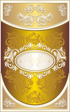 baroque pearl: Vintage Invitation or Wedding frame or Congratulation or label with Floral background in gold color