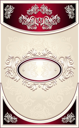 Vintage Frame or  label or menu with Floral background in red beige  color Vector