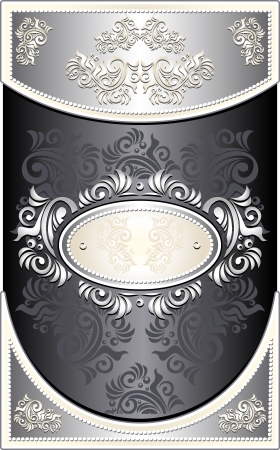 Vintage Frame or  label or menu with Floral background in black silver  color Vector