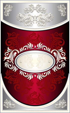 Vintage Frame or  label or menu with Floral background in red silver  color Vector