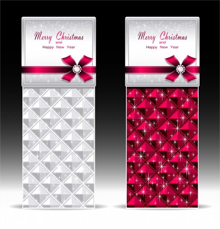 Banners or gift card with bow geometric pattern  Vector