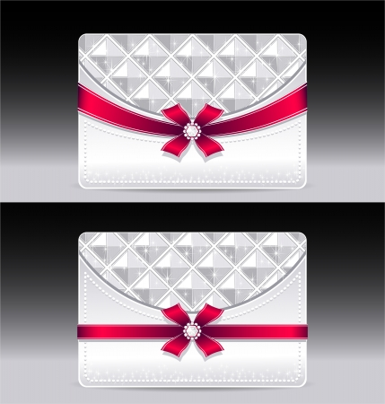 Gift cards with geometric pattern red bow ribbon silver color Vector