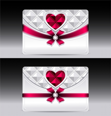 Gift cards with heart geometric pattern red bow ribbon silver color Vector