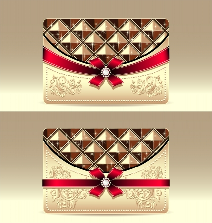 Gift cards with geometric pattern red bow ribbon gold color Vector