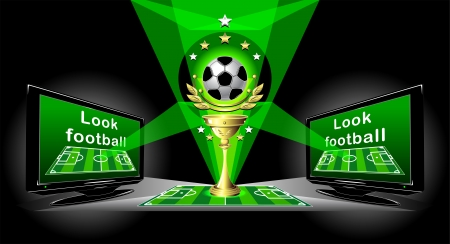 Poster for advertising Football championship with cup ball two TV set soccer field