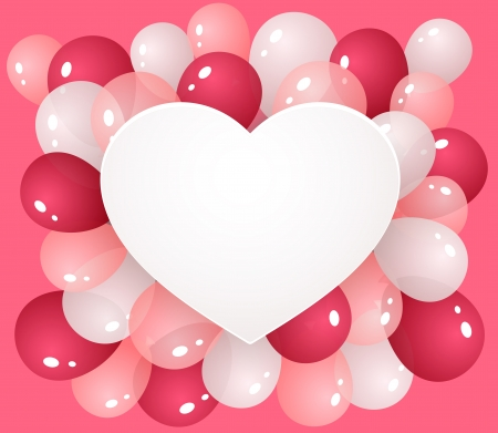 Heart with balloons on pink background for congratulation or messages and other Vector