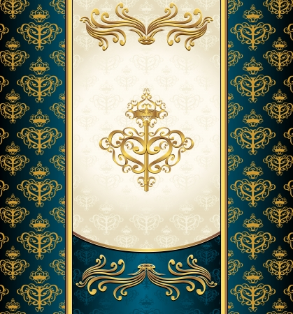 Royal Victorian background with seamless pattern dark blue gold beige colors Vector