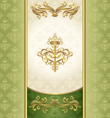 Royal Victorian background with seamless pattern green olive gold beige colors Vector