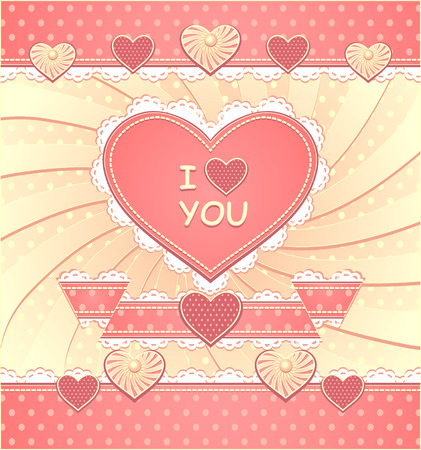 Valentines Card with hearts, ribbon, lace, pearls, polka dots fabric, stitching thread, scrapbooking elements Vector