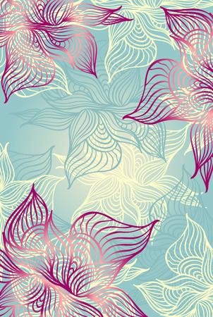 Abstract floral Background with flowers   grunge in blue color hand draw Vector