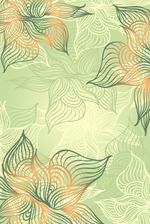 Abstract floral Background with flowers   grunge in green color hand draw Vector