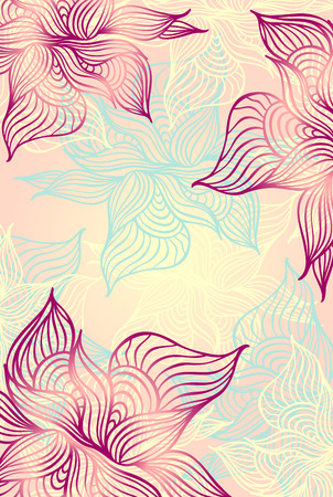 Abstract floral Background with flowers   grunge in pink color hand draw Vector