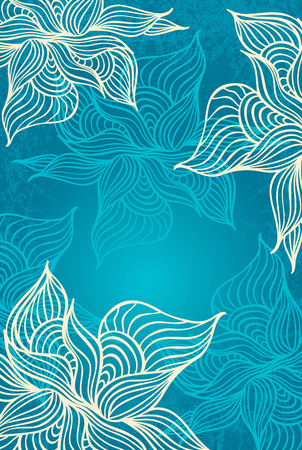 Abstract floral Background with flowers   grunge in in marine color hand draw Vector