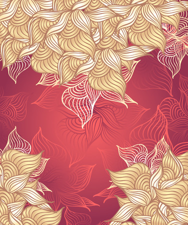 Abstract floral Background with flowers shells seaweed in red beige color hand draw Vector