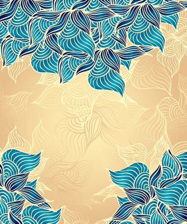 Abstract floral Background with flowers shells seaweed in beige marine color hand draw Vector