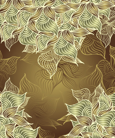 Abstract floral Background with flowers shells seaweed in green olive color hand draw Vector