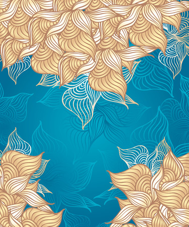 Abstract floral Background with flowers shells seaweed in marine beige color hand draw Vector
