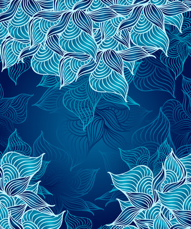 Abstract floral Background with flowers shells seaweed in marine dark blue color hand draw Vector