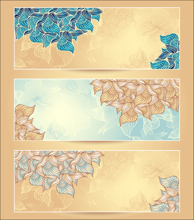 Set Abstract floral banners with flowers shells seaweed in marine  nacre beige light blue yellow  gold colors hand draw Vector