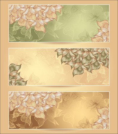 on decorate mobile telephone: Set Abstract floral banners with flowers shells seaweed in green  nacre beige olive  brown gold colors hand draw Illustration