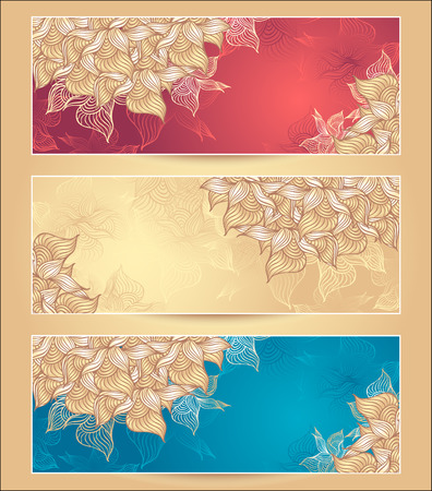 Set Abstract floral banners with flowers shells seaweed in marine  nacre beige red gold colors hand draw Vector