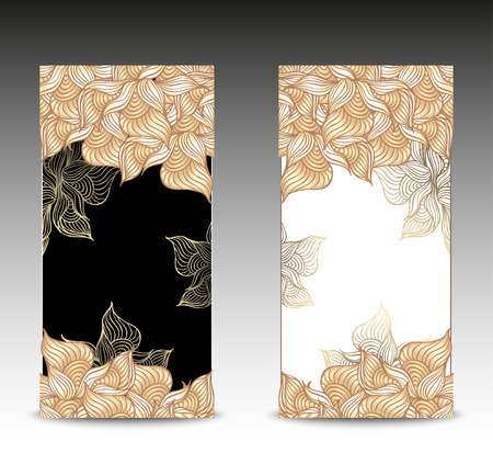 Set Abstract floral banners with flowers shells seaweed in   nacre beige black white  gold colors hand draw