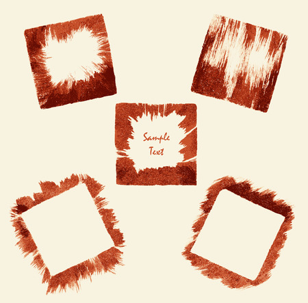 Set square border frame from handmade brush and drawing ink Vector