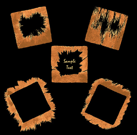 Set square border frame from handmade brush orange colors on dark background Vector