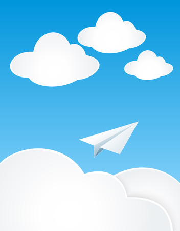 decorate mobile telephone: Paper Plan with clouds in sky for concept dream or travel Illustration