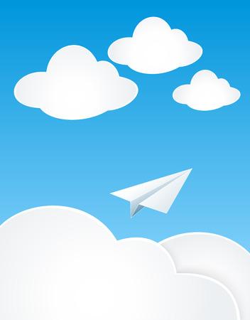 agencia de viajes: Plan de papel con las nubes en el cielo para el concepto de sueño o de viajes